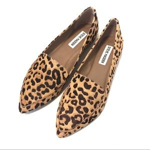 Steve Madden Feather Leopard Cow Hair Loafer Flats